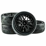 Gravity RC USGT Spec Pre-Mounted Rubber Tires on Black GT Wheels (4)