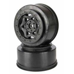 AKA Cyclone Short Course Wheels (SC-10 Rear Pin-Drive) (Black) (2).