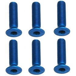 Team Associated M3 x 12mm Aluminum Flat Head Screw (Blue) (6)