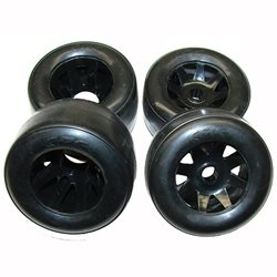 CRC 1/10th Pre-Mounted GT-R Rubber Tire Set (2F+2R).