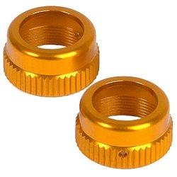 XRAY Aluminum Shock Cap Nut w/Vent Hole (Orange) (2).